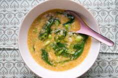 Spinach & Edamame Egg Drop Soup-Sub in Veggie broth instead of chicken stock