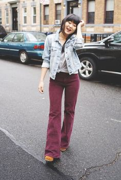 Love this outfit from Jennif Hsieh.via ClosetSpace Burgundy Corduroy flared pants, jean jacket, t-shirt, Burgundy Pants Outfit, Flare Jeans Outfit, Gamine Style, Fall Outfits, Vintage Outfits, Management Styles, Shirt, Clothes, Dress Shoes