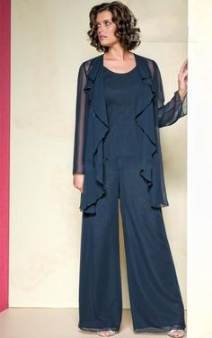 Navy Blue New Elegant Chiffon Applique Long Pleat Collar Long Sleeves Sequins Mother Of the Bride Pant Suits with Jacket Mother Dresses, $108.85 | DHgate.com
