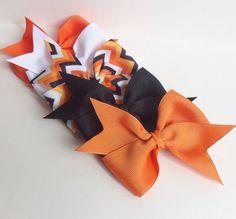 Halloween Hair Bow Set:  set of five bows orange white chevron black pumpkin on Etsy, $10.00