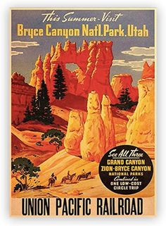 #National_Park #Poster #Decor #Home - #Yelowstone - #Yosemite and More #vintage  #Denali #zion #Vintage:poster #draws #home #bedroom Bryce National Park, National Park Posters, Grand Canyon National Park, Us National Parks, Vintage Ads, Vintage Posters, Lewis And Clark Trail, Old Advertisements, Poster Ads