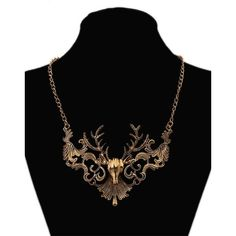 Vintage Elk Necklaces Accessories ($6.99) ❤ liked on Polyvore featuring jewelry, necklaces, vintage necklace, golden jewelry, vintage jewelry, golden necklace and vintage jewellery