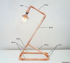 Choosing the best lamp for your home can be challenging since there is such a wide variety of lamps you could choose. Discover the most suitable living room lamp, bed room lamp, table lamp or any other style for your particular area. Pipe Lighting, Copper Lighting, Industrial Lighting, Lampe Steampunk, Copper Lamps, Pipe Furniture, Pipe Lamp, Bedroom Lamps, Desk Lamp