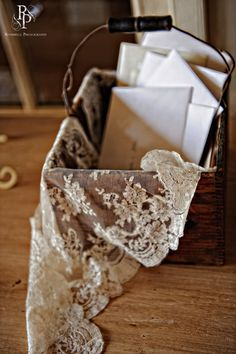 Wood and lace card holder.perfect for the wedding programs too. Lace and woodsy. Gift Table Wedding, Card Box Wedding, Diy Wedding, Rustic Wedding, Wedding Gifts, Dream Wedding, Wedding Day, Lace Wedding Decorations, Wedding Reception