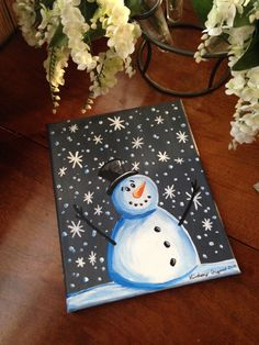 Snowman Acrylic Painting on Small Canvas by LCDesignsAndMore on Etsy