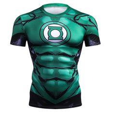 Marvel Cosplay Costume Green Lantern Superheros Ironman Print Compression Shirt Tops Mens Short Sleeve T-Shirt 2018 Clothes 3d T Shirts, Short Shirts, T Shirts For Women, Superman T Shirt, Marvel Shirt, Marvel Hoodies, Marvel Cosplay, Green Lantern Comics, Crossfit Men