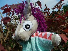 """Voici ce que je viens d'ajouter dans ma boutique #etsy: Marionnette à gaine """"Mon Âne, mon âne"""" dans sa robe multicolore - MODELE UNIQUE http://etsy.me/2jd4A10"""