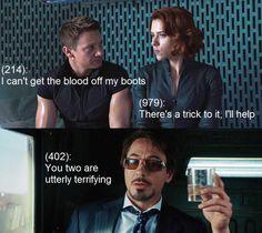 Hawkeye; Black Widow; Tony Stark; Iron Man;  Clint Barton; Natasha Romanoff