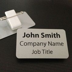 Personalised Name Badge. PVC, metallic finish, Silver or Gold, size 54 x 32 mm