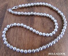 "VINTAGE MARKED 925 SOLID STERLING SILVER 5mm BALL BEAD NECKLACE 22.6g 18"" #STERLINGSILVER"