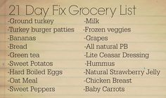 21 Day Fix Grocery List and Meal Ideas
