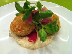 Georges: Dungeness crab cakes with remoulade and watermelon radish Crab Dishes, Watermelon Radish, Area Restaurants, Girls Time, I Want To Eat, Crab Cakes, Bay Area, Main Dishes, Eyes