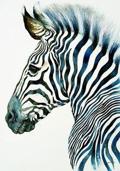 Midnight Blue Zebra (2016) Watercolour by Arti Chauhan | Artfinder