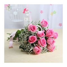 You can place your order online to book this fresh pink roses bouquet at reasonable price!