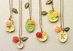 Victorian Garden Bridesmaid Necklaces Rustic Chic by Palomaria