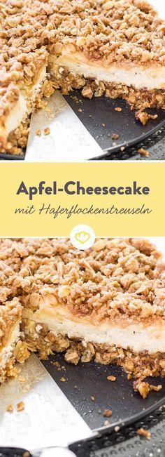 Heute musst du dich nicht entscheiden, heute gibt es einen Apfel-Streusel-Cheesecake par excellence. �pfel und Frischk�se in der F�llung. Und Streuseln on top � dank Haferflocken besonders crunchy.
