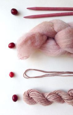 DIY pink dye with Cranberries! Naturally dye yarn in your own kitchen with this festive little berry.