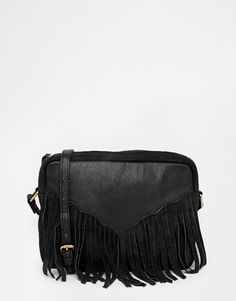 75a49b9a3fd Bag by ASOS Collection Smooth leather Full lining Zip top fastening Suede  fringing Internal zip pocket Adjustable strap Wipe with a damp cloth Real  Leather ...