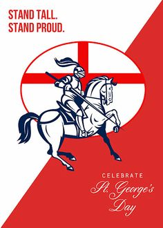 Happy St George Day Stand Tall Stand Proud Retro Poster by patrimonio Happy St George's Day, St Georges Day, British Bulldog, Framed Prints, Canvas Prints, Instagram Quotes, Stand Tall, Saints, Retro