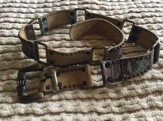 Women's LEATHEROCK Leather Belt Brass Gun Metal Studded & Linked M Boho   eBay
