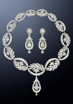 Diamond Necklaces : A Georgian diamond necklace and earring suite, circa 1820. The necklace composed…