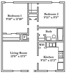 2d floor plan image 1 for the 2 bedroom garden floor plan for Apartment building plans 2 units