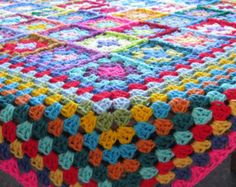GRANNY SQUARES Crochet Afghan BLANKET Apple Green by Thesunroomuk