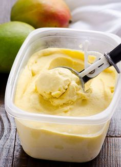 Coconut Mango Ice Cream Recipe made healthy without cream and easy without ice cream maker with coconut milk, frozen mango and maple syrup. | ifoodreal.com