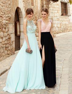 vestidos largos, dos propuestas en verde menta y negro con color rosa, ideas elegantes para invitadas de boda