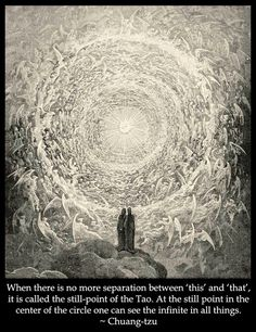 When there is no more separation between 'this' and 'that', it is called the still-point of the Tao.  At the still point in the center of the circle one can see the infinite in all things. - Chuang-tzu