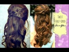▶ ★CUTE HAIRSTYLES: HAIR TUTORIAL WITH TWIST-CROSSED CURLY HALF-UP UPDOS PONYTAIL FOR MEDIUM LONG HAIR - YouTube