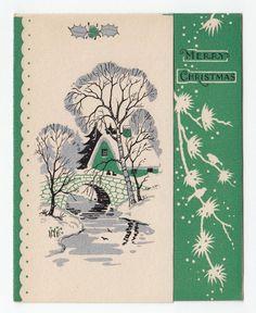 Vintage Greeting Card Christmas House Snowy Landscape Winter Scene Art Deco