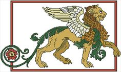 WINGED LION - original cross stitch design from Nancy Spies