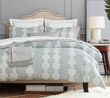 Haven Mosaic Organic Duvet Cover, Full/Queen, Gray/Blue