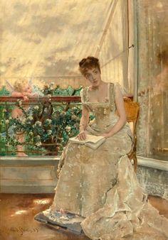 ✉ Biblio Beauties ✉ paintings of women reading letters & books - Alfred Stevens