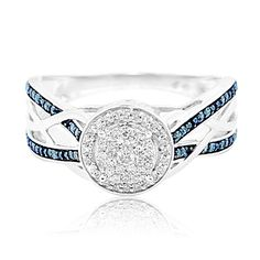 1/5cttw Diamond Blue And Diamond Halo Engagement Wedding Ring 10K Gold, Women's