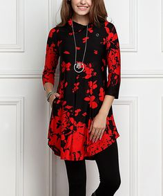 Black & Red Floral Shawl Collar Button Tunic Dress