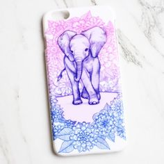 How adorable is this elephant case? With a royal blue and pink floral design and purple elephant, this iPhone case is the perfect accessory for any animal lover! Our limited edition design is made wit