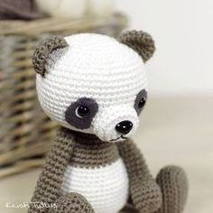 I used my classic teddy bear pattern and turned it into this cute panda bear. Crochet Penguin, Crochet Panda, Crochet Gratis, Crochet Bear, Crochet Patterns Amigurumi, Cute Crochet, Crochet Animals, Crochet Dolls, Amigurumi Animals