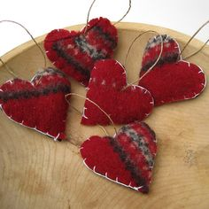 handmade upcycled wool sweater felted hearts in red and green