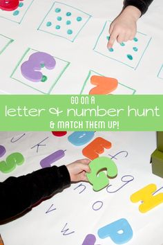Games: A number and letter scavenger hunt for preschoolers to practice upper and lowercase letters, along with counting while going on a fun scavenger hunt! Preschool Literacy, Preschool Letters, Learning Letters, Alphabet Activities, Early Literacy, Literacy Activities, Kindergarten Math, Toddler Preschool, Preschool Activities