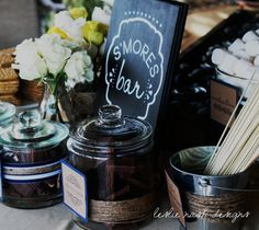 michele & frank's coed baby shower| chalkboard smore's bar menu| leslie nash designs