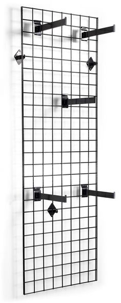 """2' x 6' Wall Mounted Gridwall Panels, Set of 2, (25) 12"""" Faceout Hooks - Black"""