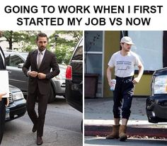 Going To Work When I First Started My Job Vs Now funny work lol humor funny pictures funny memes funny pics funny images really funny pictures funny pictures and images Funny Shit, The Funny, Funny Jokes, Funny Stuff, Funny Things, Hilarious Work Memes, Random Things, Creepy Stuff, Funny Comedy