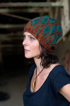 Toph Slouchy Beanie Hat by Woolly Wormhead. Available by itself or as the Earth element in the 5-hat Elemental collection. Love garter stitch + short rows, love the undulating lines, LOVE the color scheme just as much as the pattern itself