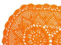 Orange hand dyed Crochet Doily Vintage oval by katrinshinesupplies #doily #etsy #handmade #vintage #crochet #katrinshinesupplies #doily #rochet_doily