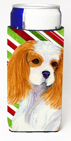 Cavalier Spaniel Candy Cane Holiday Christmas Ultra Beverage Insulators for slim cans SS4596MUK
