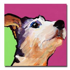 This ready to hang, gallery-wrapped art piece features a white dog. Instantly recognizable, the brilliant, saturated colors of Pat Saunders-White;s animal paintings have established her as a national