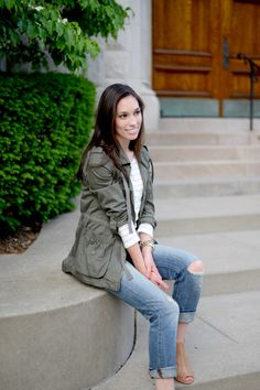 Distressed Jeans and Stripes - Wellesley & King | distressed boyfriend jeans, a striped t-shirt, military jacket anorak and caged heel sandals make a perfect weekend outfit. Click for outfit details.