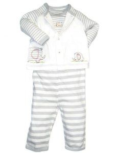 cf414eebf73f Little Me Baby-Boys Newborn Elephants Take Me Home Sleepwear Set ...